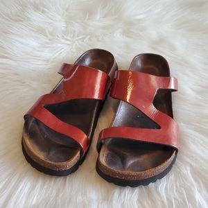 Birkenstock Betula Rust Orange Red Slide Sandals